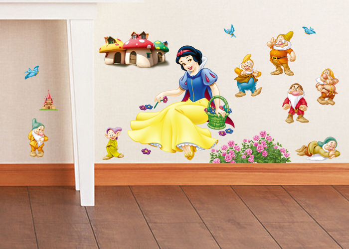 Free shipping Snow white and the Seven Dwarfs wall stickers for kids rooms,DIY home decoration wall art,butterfly decoration(China (Mainland))