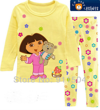 Free Shipping! baby girl's classical design pajamas set baby sleepwear long sleeve top+pants cotton homewear 6sets/lot