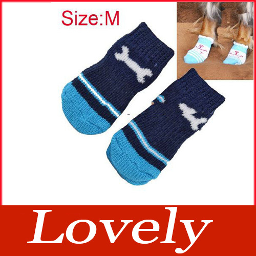 Lovely Warm 4PCS/Pack Dog Cat Puppy Dogs Pet Socks Anti Skid Bottom Size M #2(China (Mainland))