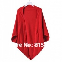 women's autumn outerwear,autumn batwing sleeve cashmere sweater cardigan long design cape