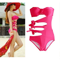 Freeshipping alibaba express discount monokinis bathing suits,Rose red sex cute hollow out one piece swimsuit for women,cheap