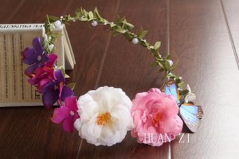 New Boho Ladies Floral Flower Festival Wedding Garland Forehead Hair Head Band