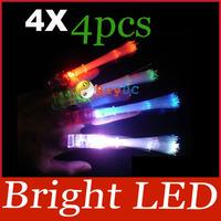 4pcs Bright LED Finger Ring Light Dance Disco Party Glow Rave Fiber