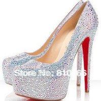 Sexy Brand 14CM high heel Round Toe wedding crystal red sole PUMPS Rhinestone platforms Daffodil women shoes Plus size 34-42