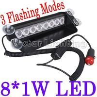 10pcs/Lot  EMS Free Shipping!!  8 LED Dash Strobe Car Light Deck Flash Emergency Warning Lights Red/Blue