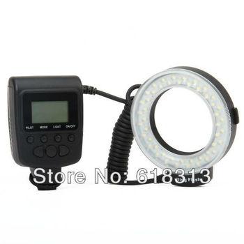 "Travor RF550E 1.6"" LCD White 48-LED 7-Mode Macro LED Ring Flash Light for  DSLR Camera (4 x AA)"