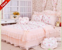 Romantic red flower Lace bedspread princess bedding set queen size cotton pink girls bedding duvet cover set bed skirts G2
