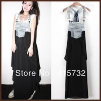 Free Shipping 2014 New Arrival Summer Denim And Layered Chiffon Patchwork Suspenders For Women Long Maxi Jeans Asymmetric Dress