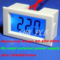 Free Shipping Mini Digital Voltmeter Panel AC 80-500V AC220V AC380V Blue LCD Digital Alternating Voltage Meter Power Monitor