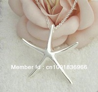 Free Shipping 925 silver starfish necklace pendant,Nickle free antiallergic,wholesale fashion jewelry