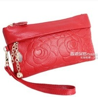 (Free shipping)Vintage decorative pattern genuine leather evening bag first layer of cowhide  long design coin purse