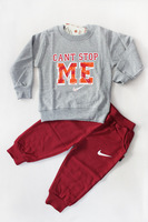 2013 New Design Fashion Boy Sport Suit Children Sportswear Full Sleeve T shirt and pants 3 sets/lot free shipping