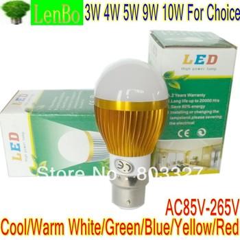 B22 High Power LED Lamp White Bulb 3W 4W 5W 9W 10W Light Cool white 110V 240V Globe Gold-case LB3