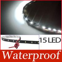 New-New 3020 SMD 15 Led Lamp String Waterproof Flexible Car Strip Light 30CM White