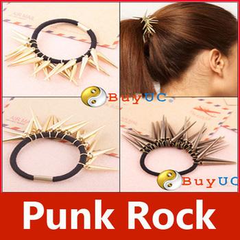 Fashion Stylish Cool Punk Rock Gothic Rivets Spike Hair Holder Band Pony Tail