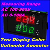 FreeShipping Digital AC voltmeter ammeter AC100-300V0-99.9A AC220V Voltage Meter Current Meter 2in1 Panel Meter VoltmeterAmmeter