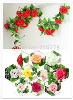 2.5M Rose silk  wedding decoration flower vine arch flower for wedding supermarket home decoration flower artificial flower