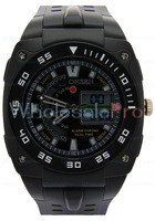 WholesalePro Ohsen Men's Digital Analog Dual Time Alarm Chrono Black Bezel Stopwatch Quartz Sport Watch Free Shipping