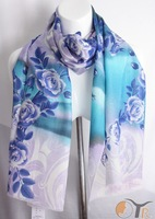 Blue and white porcelain winter thermal wool scarf sheep fur shawl Free shipping 2013 new style