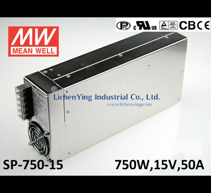 MeanWell 750W 50A 15V Single Output Switching Power Supply SP-750-15 CE UL TUV CB wholesale Built-in active PFC function(China (Mainland))
