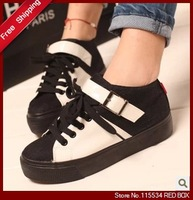 Free shipping 2013 spring low-top shoes platform shoes color block decoration women's casual canvas shoes WS0031