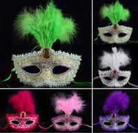 Purple Head Feathers Printed Glitter Masks Mardi Gras Masquerade Venetian Halloween Costume Mask Free Shipping 50 pcs