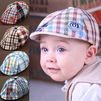 New arrival Child hat baseball cap baby beret caps popular plaid  peaked sun hat baby pocket hat b 5 colors