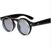 Fashion  round box metal vintage sunglasses personalized double layer flip dual-purpose sun glasses