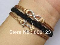 Karma Infinity Anchor Bracelet-Antique Silver Infinitywish and Anchor Bracelet - Gift for Girl Friend-W020