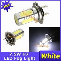 2pcs/ lot 12V COB H7 LED Fog Light Car Super Bright SMD Driving 7.5W High Power White Lamp free shipping
