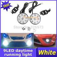 A Pair Car Daytime Running Light Truck White lighting Offroad Bulb Kit Jeep 9-LED DRL Driving Round lights Fog Lamp free ship