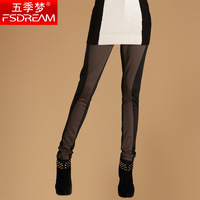 Dream of spring new arrival mid waist all-match color block slim legging trousers Free shipping