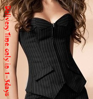 Delivery Time only 1-3days New arrival ,sexy black stripe zipper on front lace up boned corset bustier  dropship  S-2XL