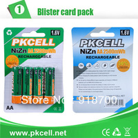 PKCELL 8Pcs/lot , 2Blisters Ni-Zn AA 1.6V 2500mWh Rechargeable Battery For 8186 Nickel -Zinc Battery Charger