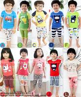 Free Shipping children's clothing set boys girls short sleeve clothing set  children suit