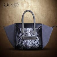 2015 snake python pattern genuine leather smiley Large big bag,women fashion designer best smile face item free shipping OUM-MM