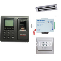 Fingerprint  and FRID card access control F2/ID, power supply, magnetic lock, exit button access control system