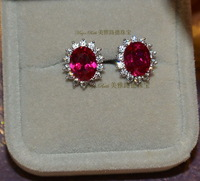 Synthetic Ruby Red Corundum Earrings 925 Pure Silver White Gold Plated Luxury Gift Female Diana Design