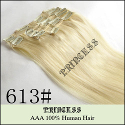 "Wholesale Virgin Brazilian 15"" 20"" 22"" Women's Human Hair Remy Straight Clips In Extensions 7Pcs 75g Light Blonde #613(China (Mainland))"