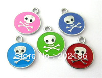 50pcs mix-color Skull Hang Pendant Charm Zinc alloy fit necklace cell phone charms