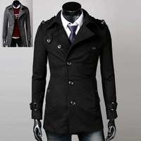 2013 new Winter fashion design men's long woolen coat mens outerwear 2 color 4 size 125010