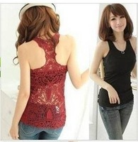 Best selling Korea Women's Tank Top Shirt Hollow-out Vest Waistcoat Camisole Pierced lace Free shipping