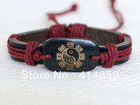 323 Leather bracelet Black bagua charm Fashion jewelry Taoism amulet bracelet Religious jewelry Birthday gift For him and her