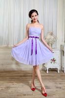 2014 Special Offer Freeshipping Knee-length Sweetheart Vestido De Madrinha New Paragraph Chiffon Bridesmaid Dress Sister Skirt