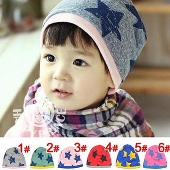 New style candy color five star infant beanie cotton cap kids hats Boy Girl baby hat Children clothing 10pcs/lot QH00001