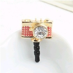 MINI ORDER USD10(mixed) Free shipping Earphone Ear Cap Dock gold plated Cute Camera 3.5mm Dust Plug for IPONE SAMSUNG HTC NOKIA(China (Mainland))
