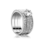 High Quality Platinum Plated CZ Stone Classic Stack 3 in 1 Paved Bands Fashion Wedding Rings For Woman