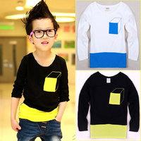 Cardigans 2014 kids Children's clothing children boy mixed color long-sleeved T-shirt 2014 new  Korean spring