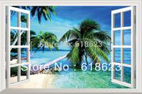 Simulation  pvc fake windows sticker 70*46cm sofa backdrop bedroom   art mural home decor Removable wall sticker  HG-4