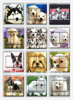 100pc fashion pet dog HD switch sticker pvc switch decoration film dogs the 9 * 9 cm 72 designs for choosing home sticker